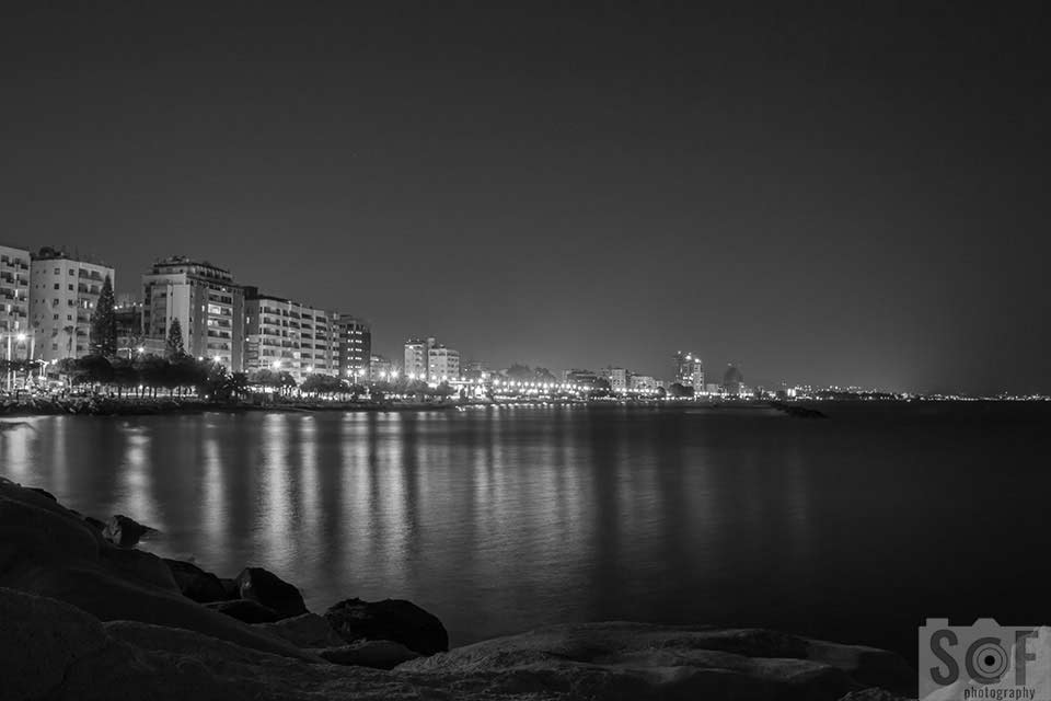 Limassol Coast View At Night - Monochromacy Achromatopsia