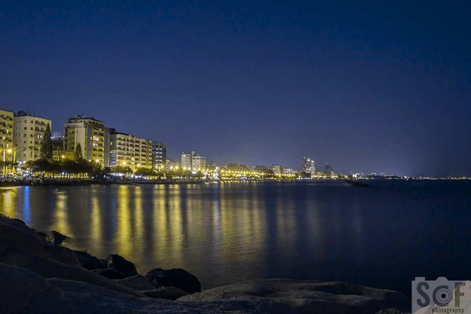 Limassol Coast View At Night - Protanopia